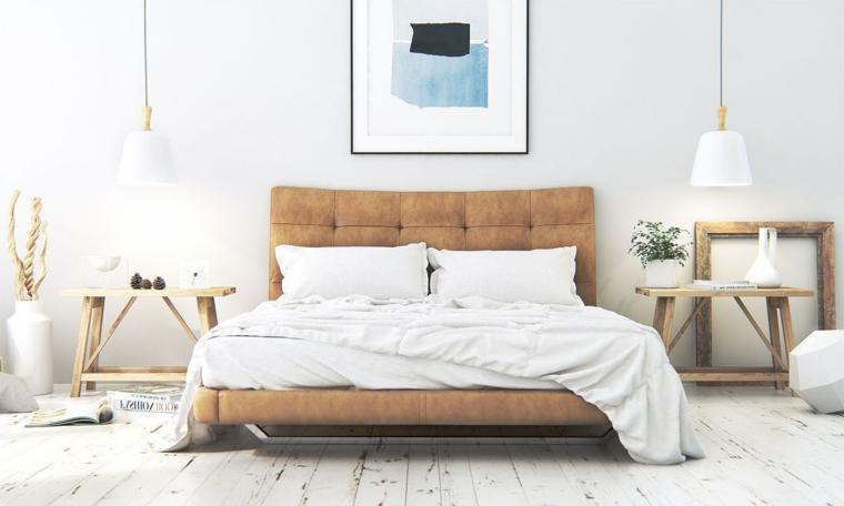 camera da letto stile nordico panchine di legno come comodini pavimento in parquet