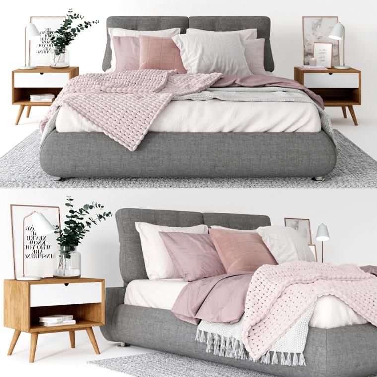 camera da letto stile nordico testata imbottita di colore grigio comodino con vaso