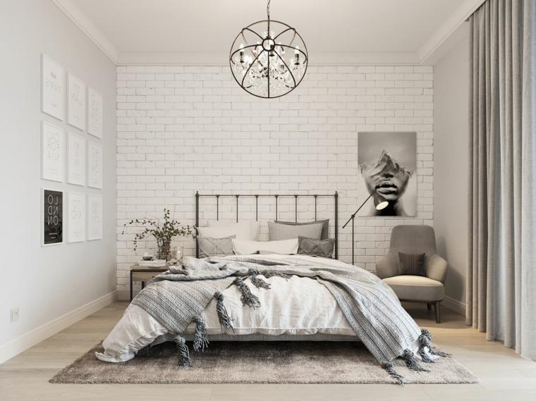 camera da letto stile scandinavo comodino di metallo con vaso parete effetto mattoni a vista bianchi