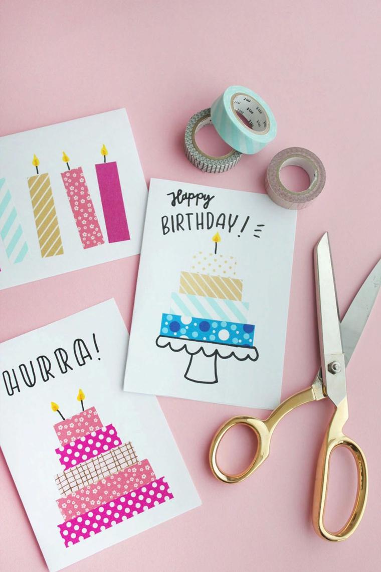 cartolina con collage torta di compleanno realizzata da nastri washi tape
