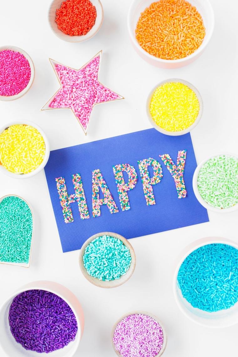 cartolina con scritta glitterata hapy decorazione bigliettino di compleanno