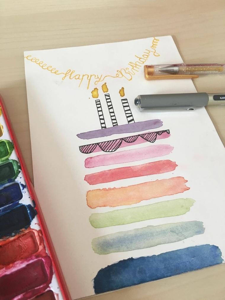 cartolina di compleanno on disegno torta dipinta con gli acquarelli