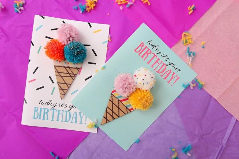 cartoline con decorazione 3d disegno cono su un biglietto di auguri fai da te