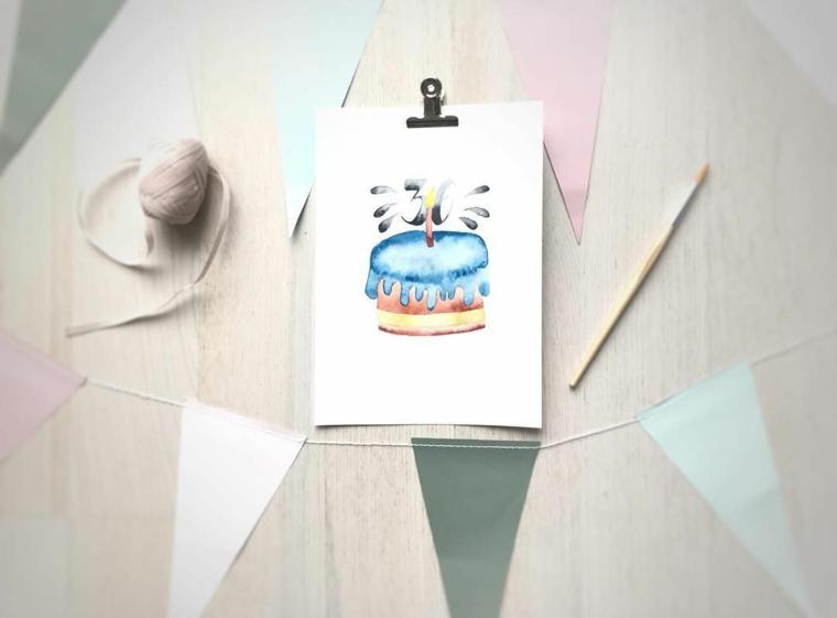 cartoline di compleanno fai da te per maschi disegno con acquarelli di una torta