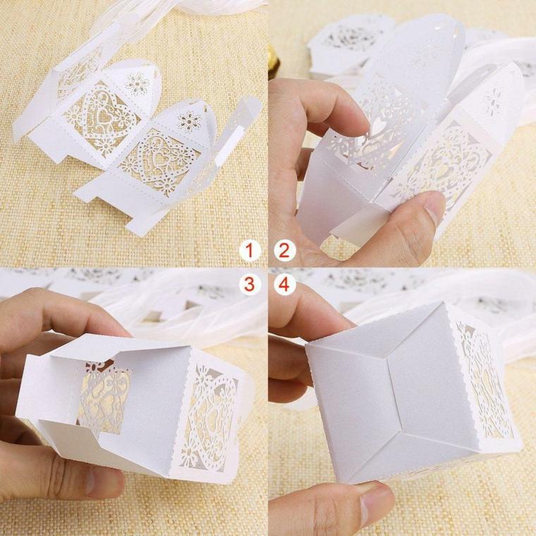 come piegare una scatoletta di carta bomboniera per battesimo fai da te
