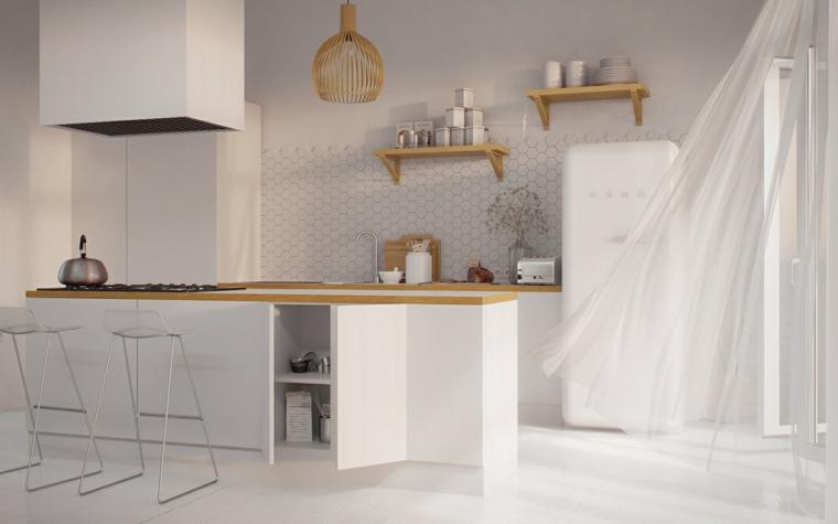 cucine stile nordico moderno cucina con isola centrale tende bianche sulla finestra
