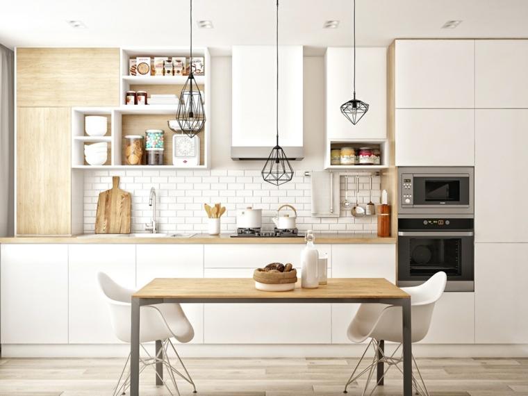 cucine stile nordico moderno tavolo da pranzo rettangolare paraschizzi con piastrelle bianche