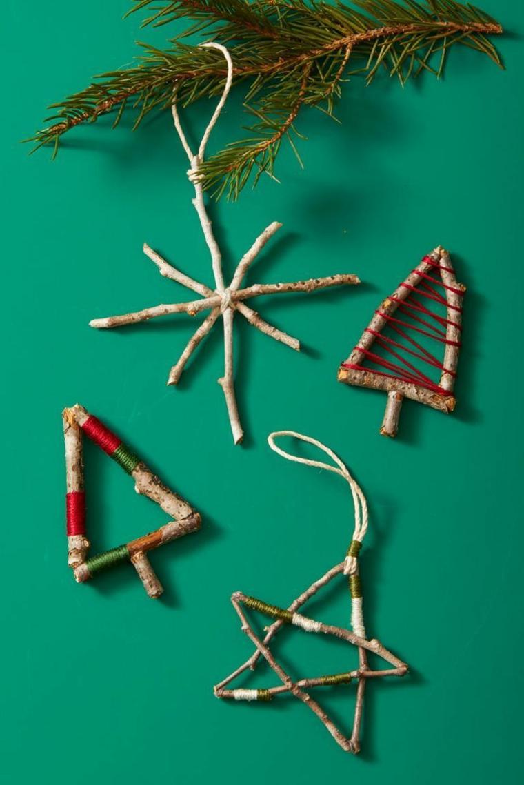 decorazioni natalizie particolari addobbi in legno e spago da appendere all albero