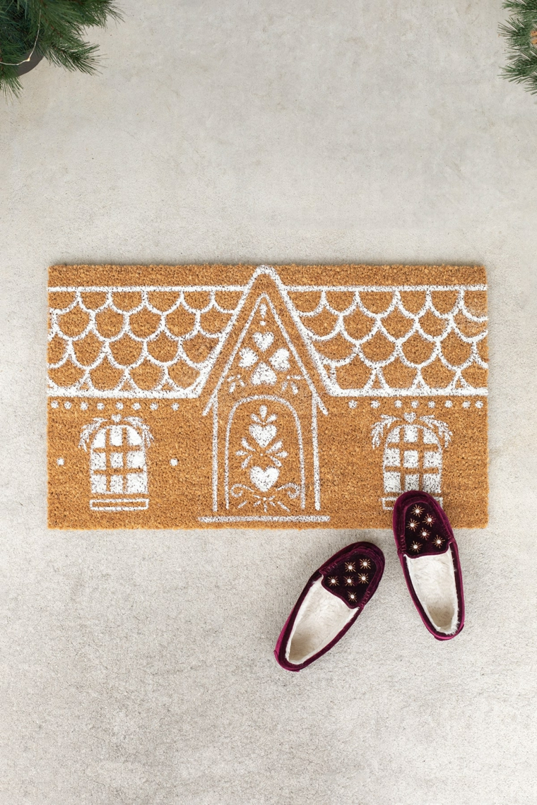 decorazioni natalizie particolari zerbino marrone con disegno casa vernice acrilica