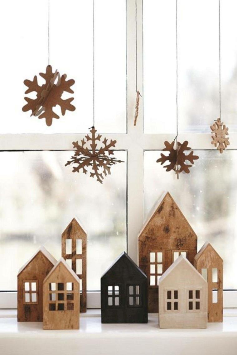 decorazioni natalizie stile nordico casette di legno stelle di carta da appendere decori natalizi fai da te