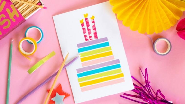 disegno torta di compleanno realizzata con nastri washi tape colorati