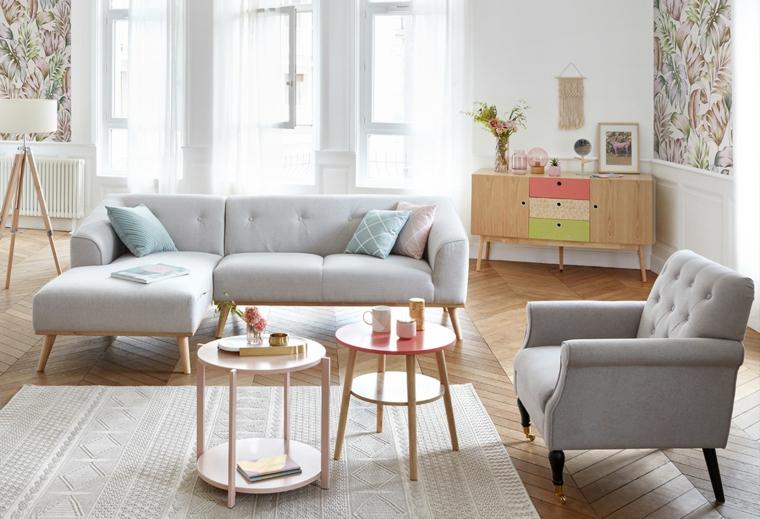 due tavolini di legno per salotto casa stile nordico pavimento in legno con tappeto