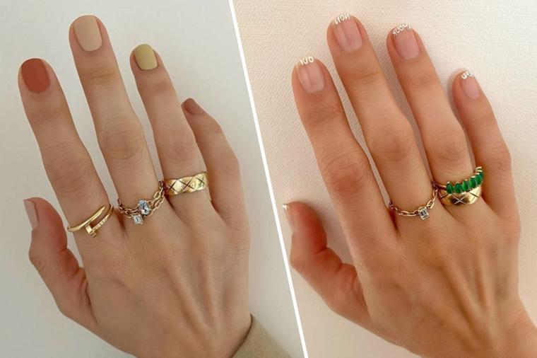 french manicure classica unghie corte invernali smalti beige accent nail in rosso
