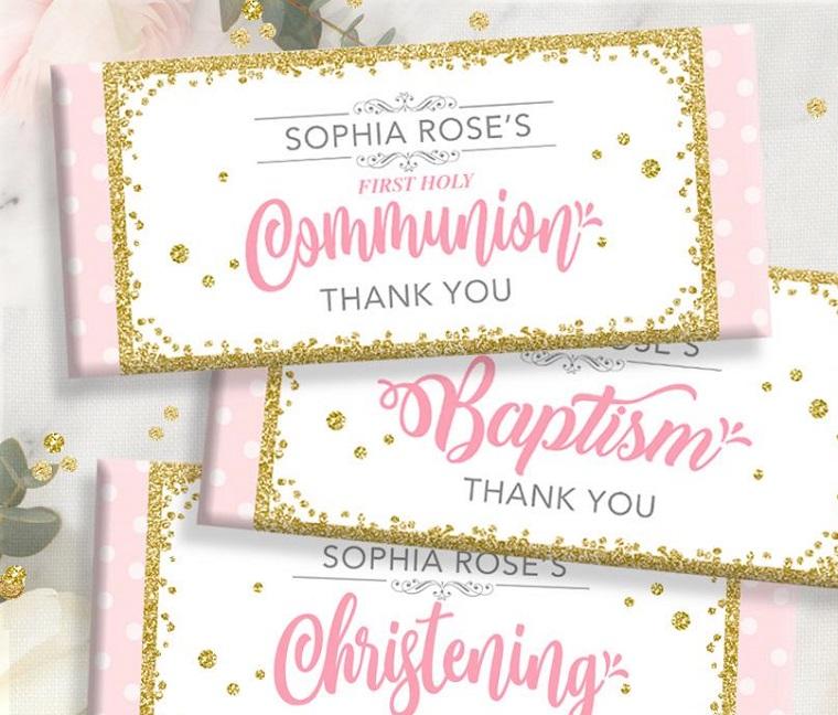idea per bomboniera battesimo e comunione barretta di cioccolato con etichetta personalizzata