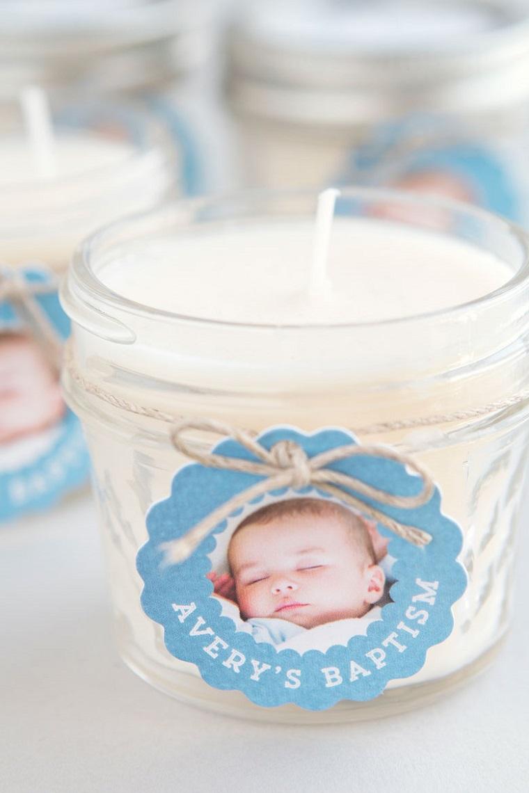 idee bomboniere battesimo con foto barattolo di vetro con candela profumata