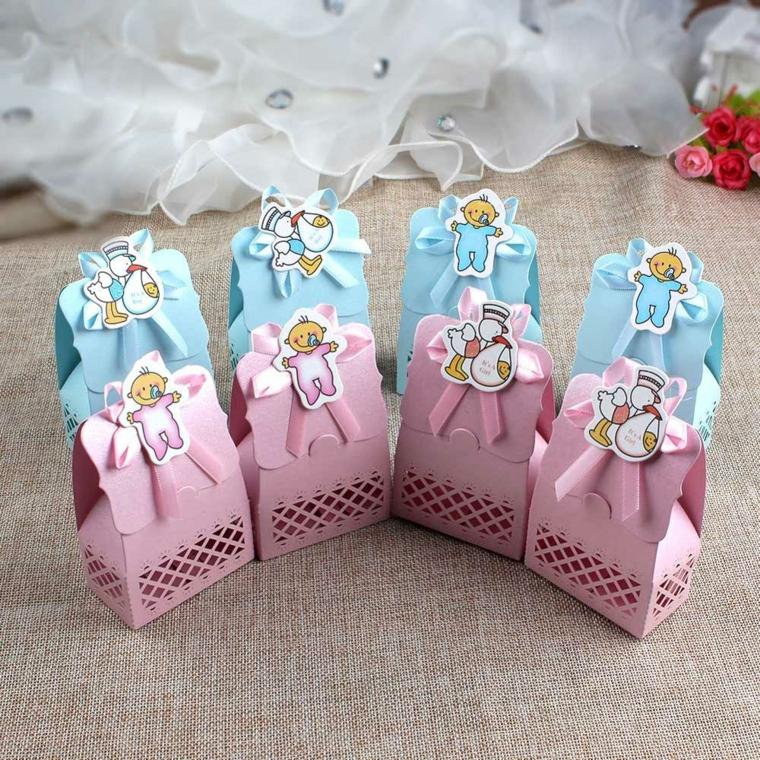 idee bomboniere battesimo fai da te scatolette di carta con etihetta bebe
