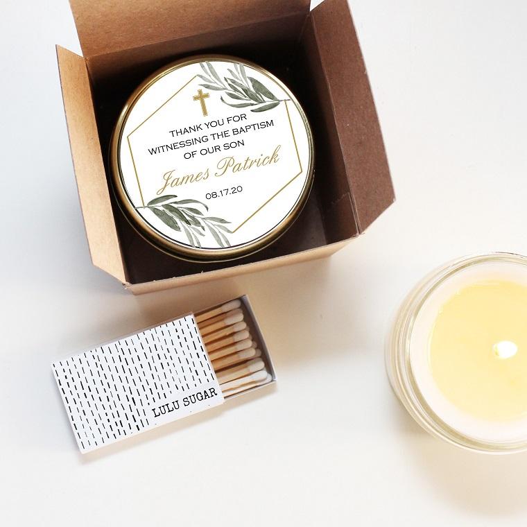 idee bomboniere battesimo maschietto barattolo con candela scatola con fiammiferi