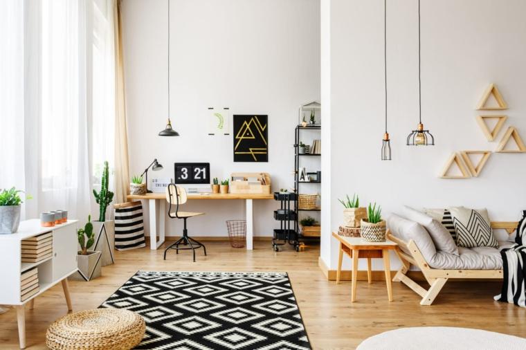 interior design stile scandinavo decorazione casa stile nordico pavimento in legno con tappeto
