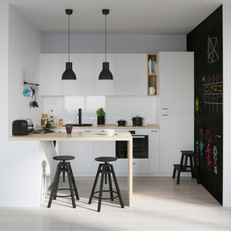 isola cucina come tavolo da pranzo mobili stile scandinavo parete nera effetto lavagna