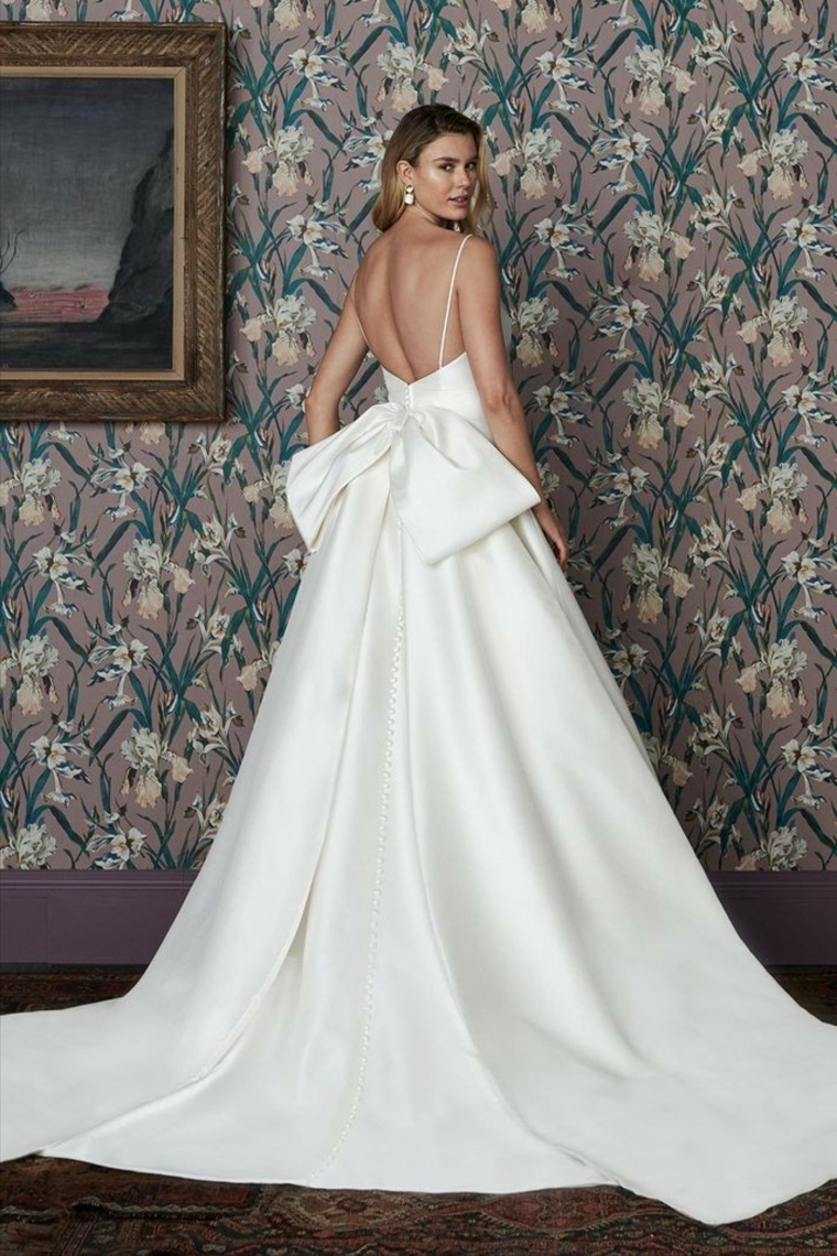 justin alexander abiti da sposa ampi vestito bianco con gonna di seta fiocco grande sulla schiena