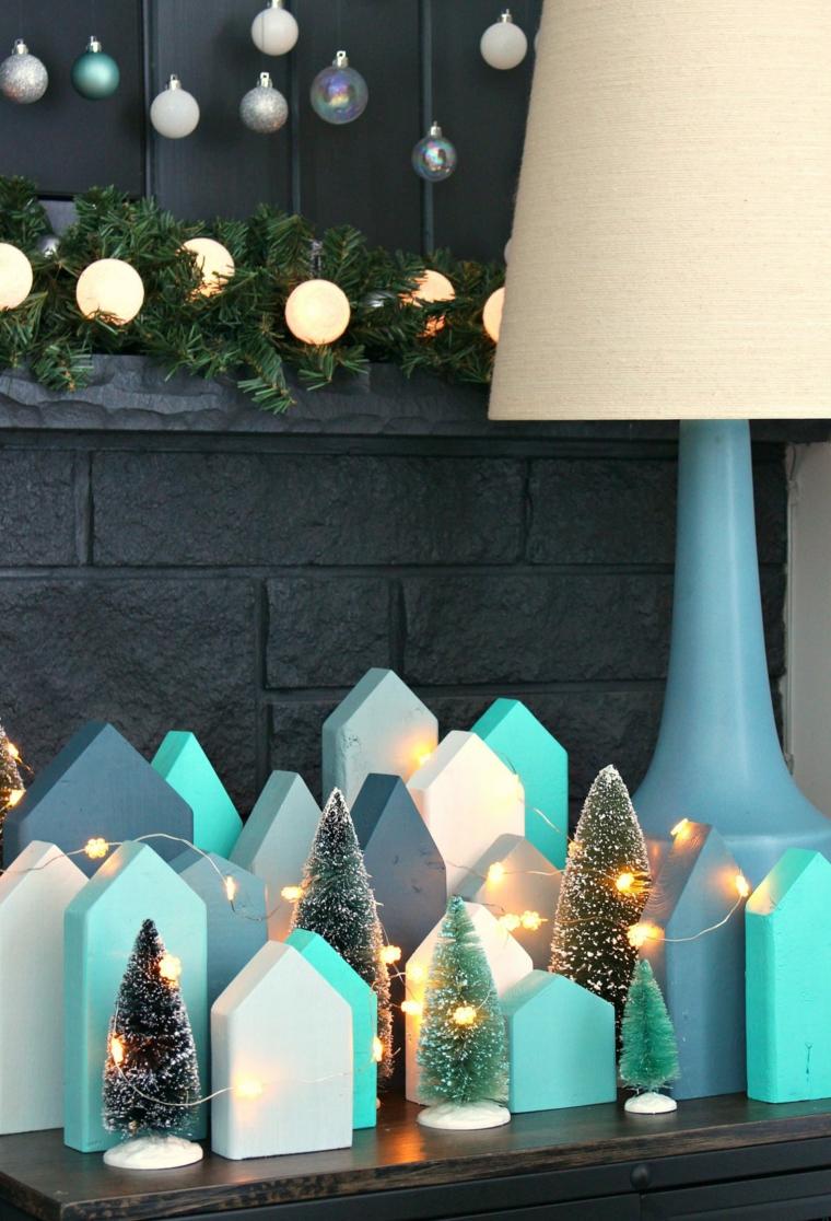lavoretti di natale 2020 casette di legno dipinte decorate con filo di lucine