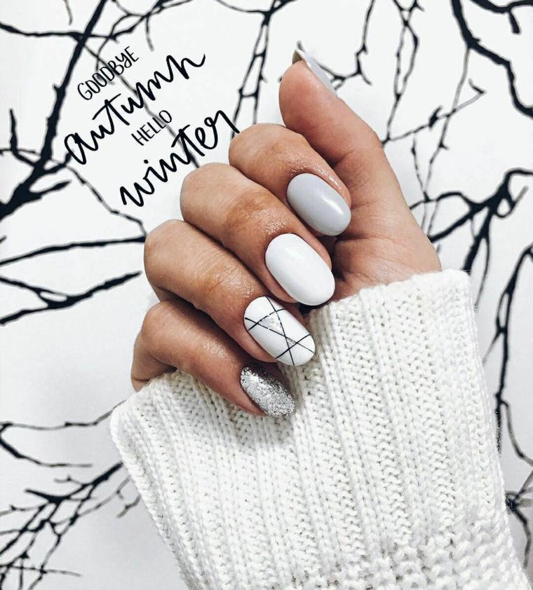 nail art autunno inverno 2020 unghie corte ovali smalto bianco disegni linee
