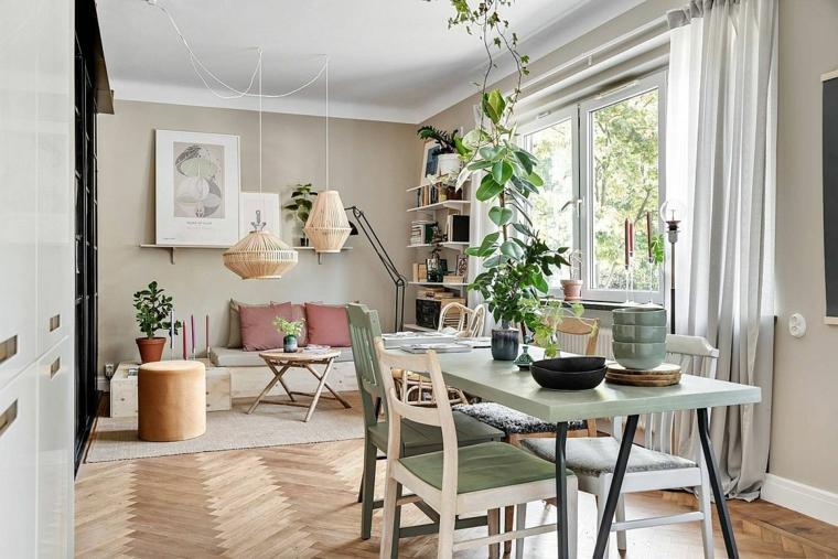 open space soggiorno e sala da pranzo decorazione con piante da appartamento stile nordico