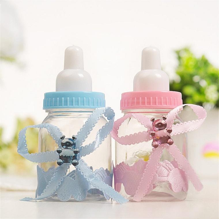 portaconfetti biberon con fiocco decorato con orsetti colorati idea bomboniera per battessimo