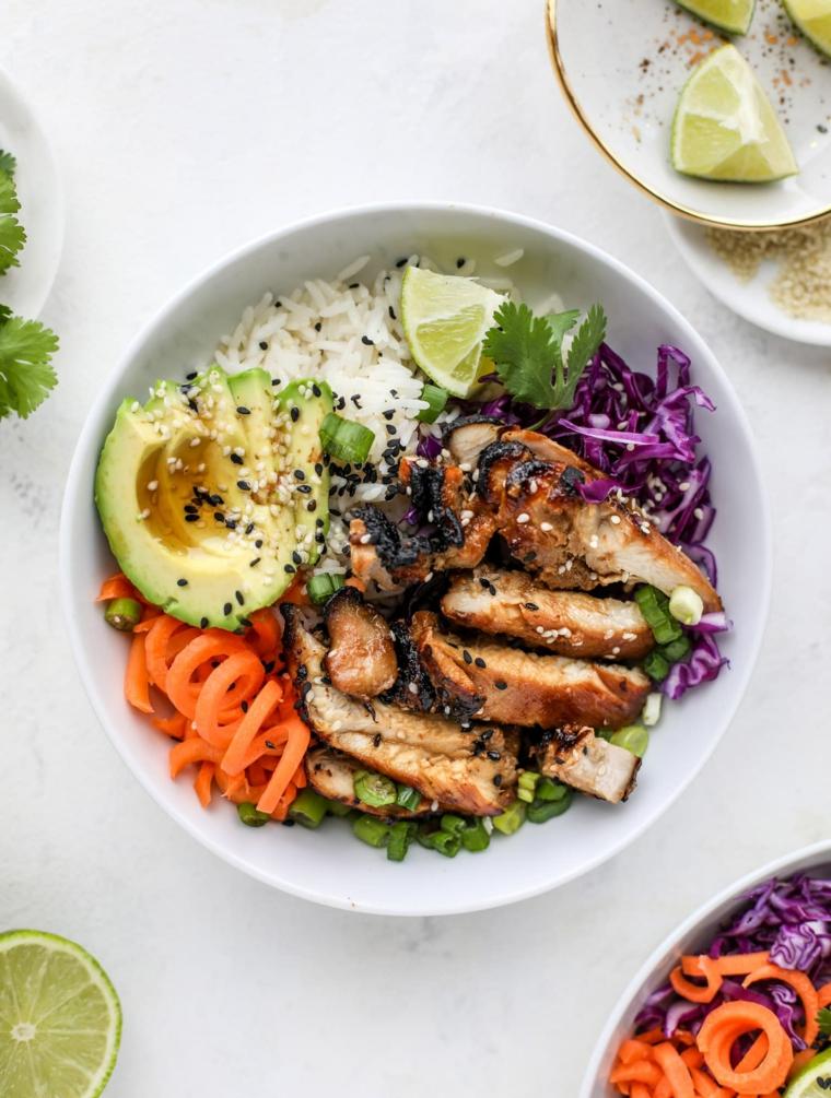ricette con pochi ingredienti piatto con petto di pollo e fette di avocado