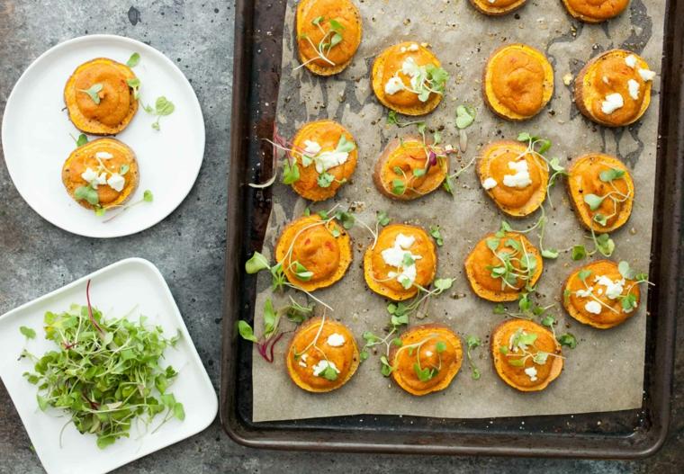 rondelle di patate dolci farcite con hummus di ceci stuzzichini veloci senza cottura