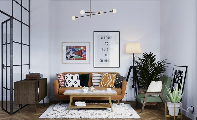 salotto con divano pavimento parquet con tappeto decorazione piante da appartamento