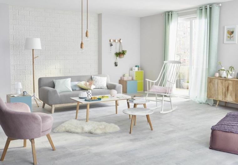 salotto stile scandinavo soggiorno con divano e poltrona pavimento in legno parquet grigio