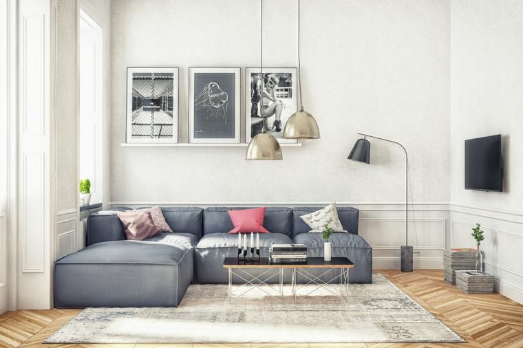 soggiorno stile scandinavo divano angolare di colore grigio salotto con pavimento in legno