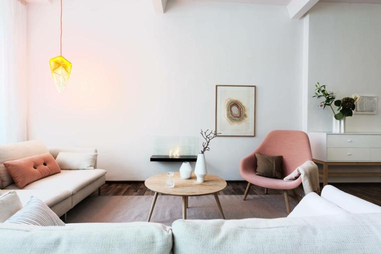 stile nordico casa stile scandinavo soggiorno con set divano e poltrona rosa