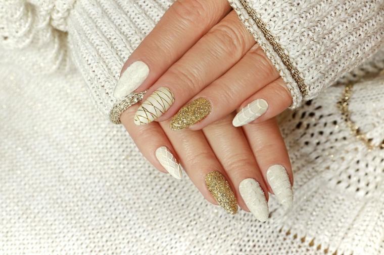 stiletto gel bianco effetto 3d accent nail oro glitter colori unghie semipermanente