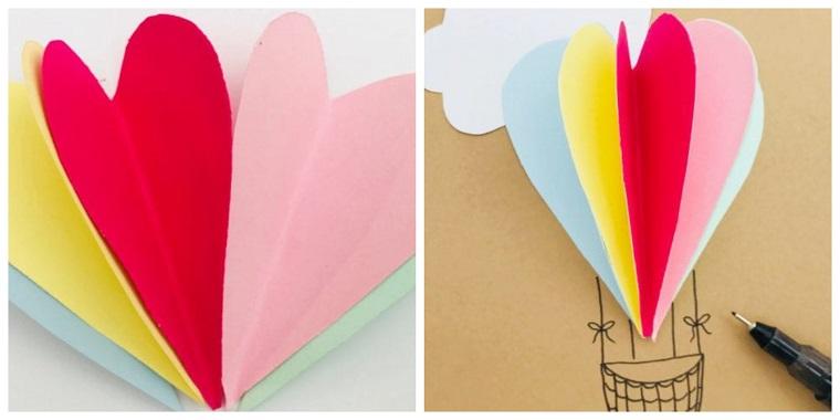 tutorial biglietti di compleanno fai da te 3d mongolfiera cuori di fogli colorati