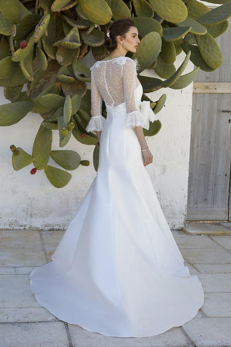 vestito da matrimonio manica lunga in tulle abiti da sposa collezione 2021