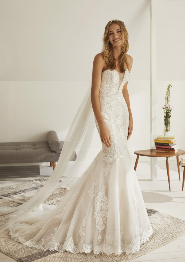 vestito da sposa a sirena in tulle primavera estate 2021 anteprima abiti da cerimonia
