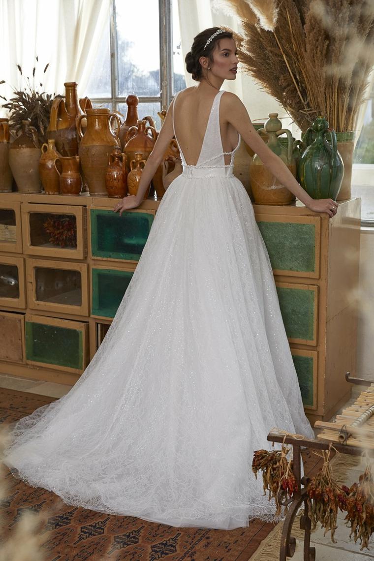 vestito da sposa con schiena scoperta abito da matrimonio in tulle bianco