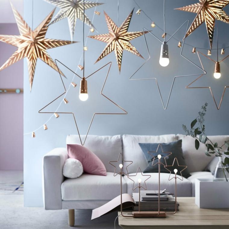 addobbi di natale fai da te 2020 soggiorno decorato con stelle appese e lampadine