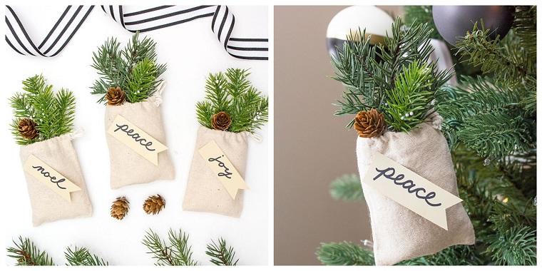 addobbi natalizi fai da te sacchettini di iuta con rametti verdi e mini pigne