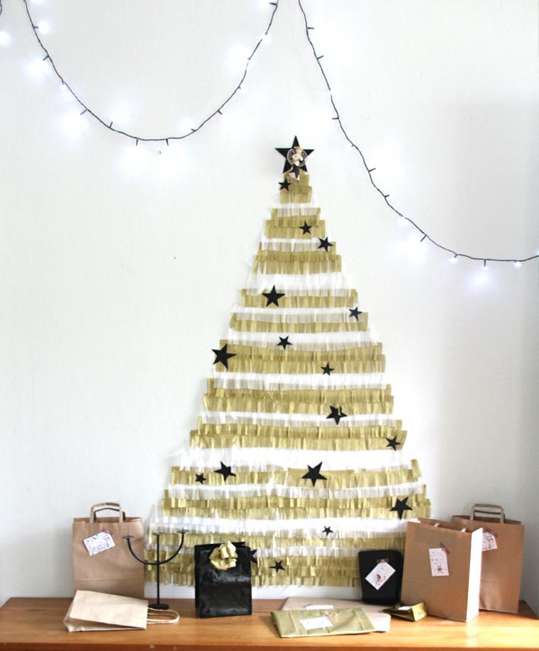 alberello natalizio alternativo alberi di natale addobbati 2020 decorazione con filo di lucine