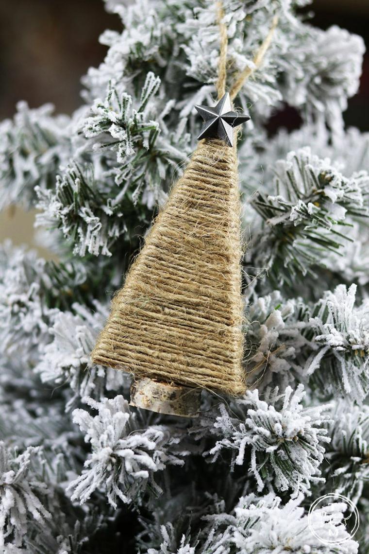 alberi di natale fai da te originali mini alberello di filo di canapa