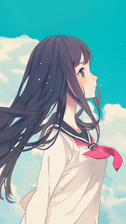 anime background ragazza studentessa con foulard rosso immagine da scaricare telefono