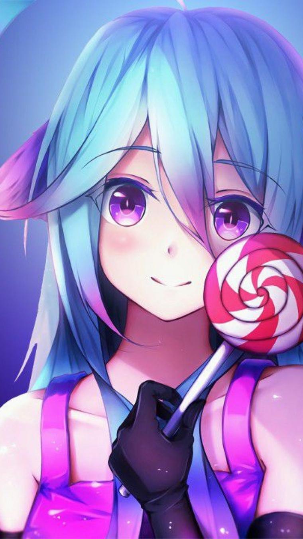 anime wallpaper disegno colorato di una ragazza con lecca lecca in mano