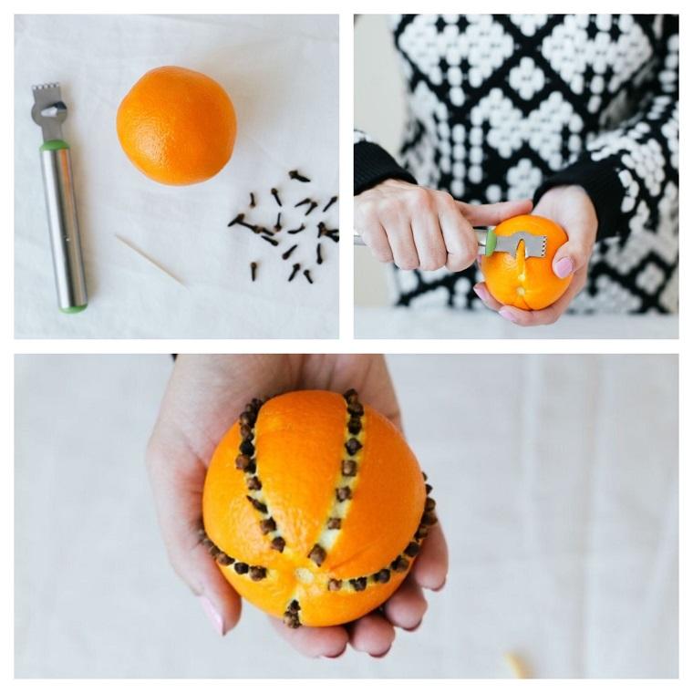 arancia punzechiata con chiodi di garofano come fare un bel centrotavola
