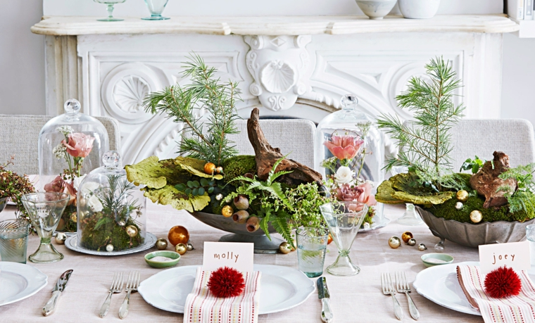 centrotavola natalizi moderni segnaposto personalizzato sala da pranzo con camino