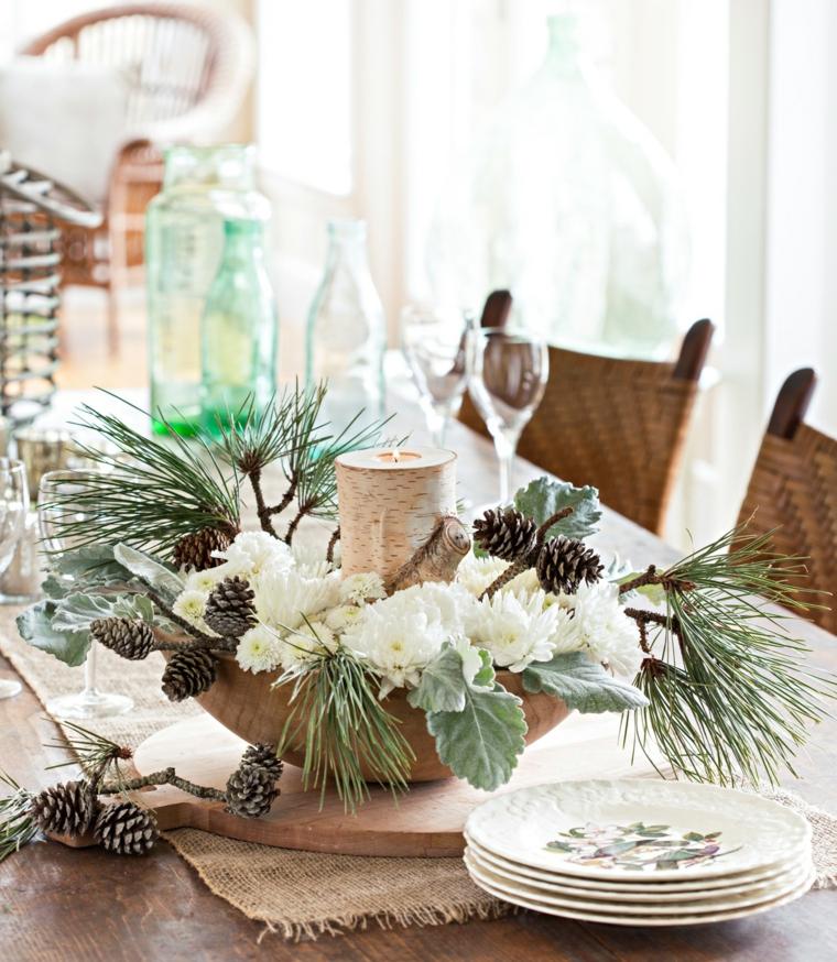 centrotavola natalizio fai da te contenitore di legno con pigne e rametti verdi