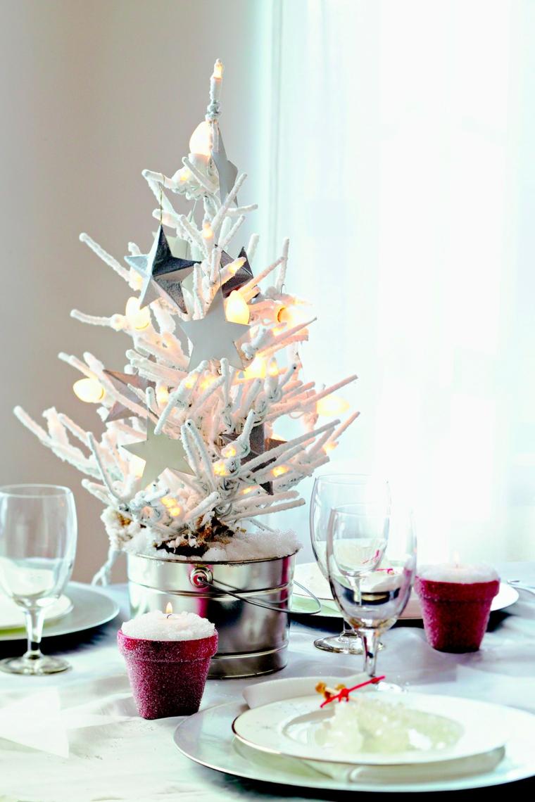 centrotavola natalizio vaso di metallo con mini alberello segnaposto di natale personalizzato