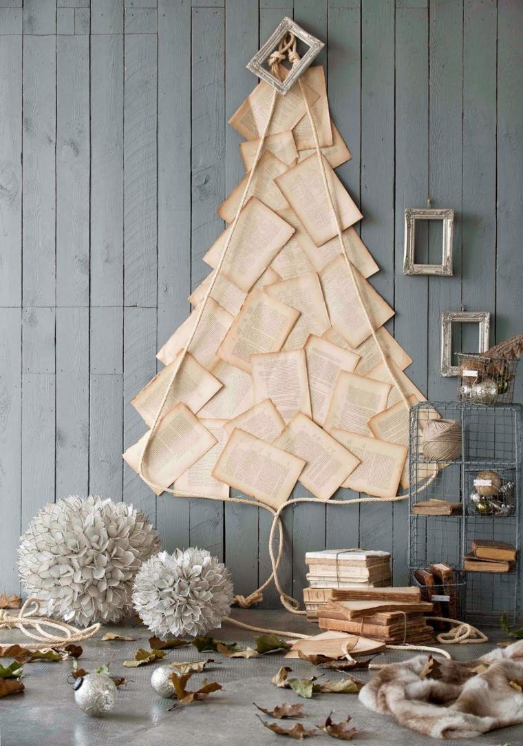 come addobbare l albero di natale 2020 fogli di carta incollati alla parete di legno